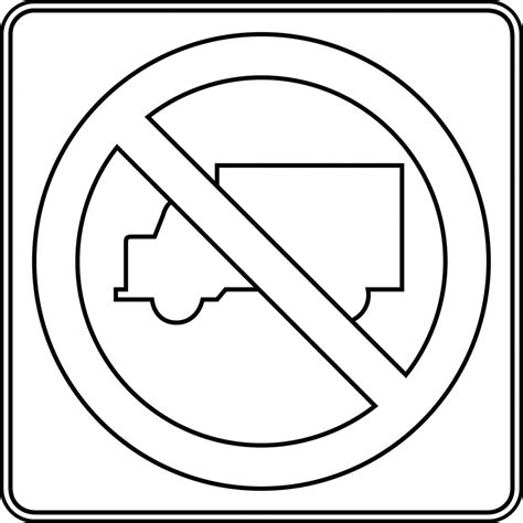 Road Sign Outlines by No Trucks Outline Clipart Etc