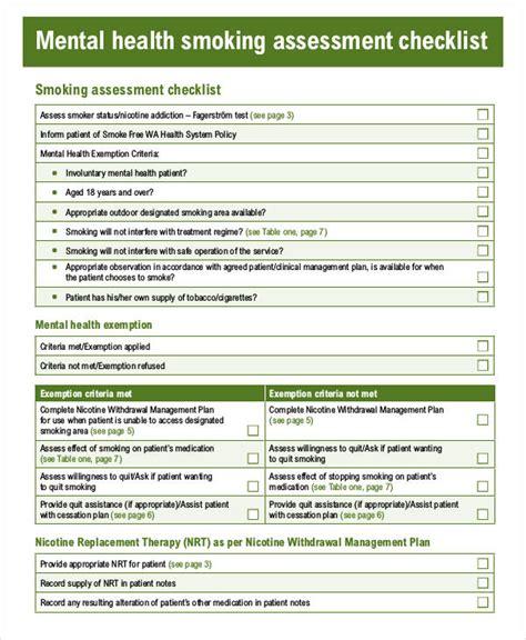risk assessment template mental health free health assessment form