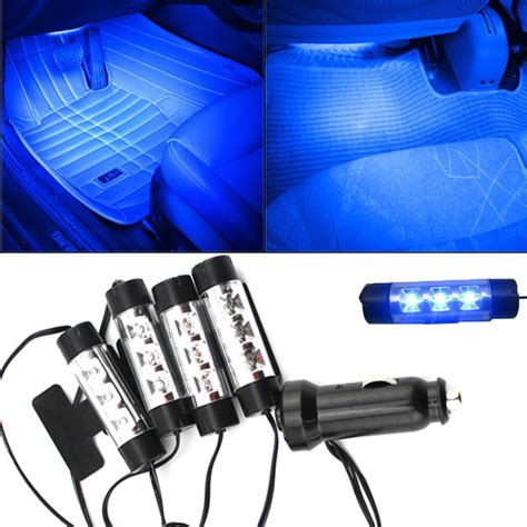 4 X 3led Car Charge Interior Accessories Atmosphere L Floor Decorat attractive 4x 3led car charge 12v 4w glow interior decorative 4in1 atmosphere blue light l