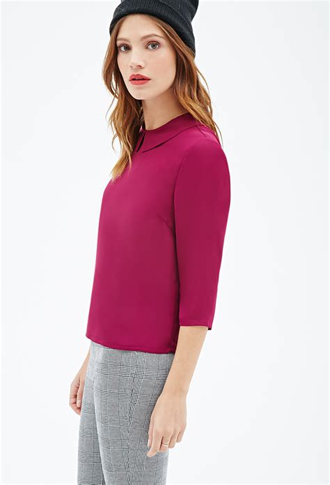 Blouse Chelsea 1 forever 21 woven chelsea collar blouse in purple lyst
