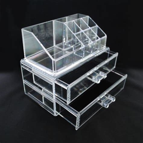 Acrylic Make Up 2 Drawer Akrilik acrylic makeup organizer with lipstick holder