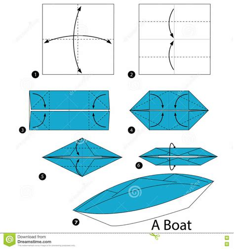 Origami Boat Canoe - free coloring pages step step how to make