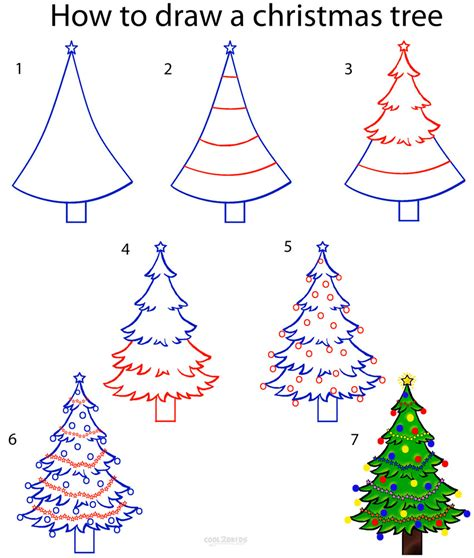 drawing step to step christmas decorations how to draw a tree step by step pictures cool2bkids