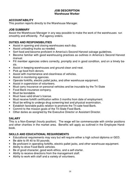 21 amazing sample resumes for warehouse workers resume objective