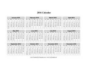 2016 Calendar One Page Printable 2016 Calendar On One Page Horizontal Grid