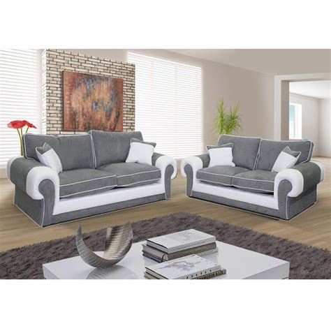 canapé 3 places 2 places canap 233 3 places et canap 233 2 places nubuk gris pvc blanc
