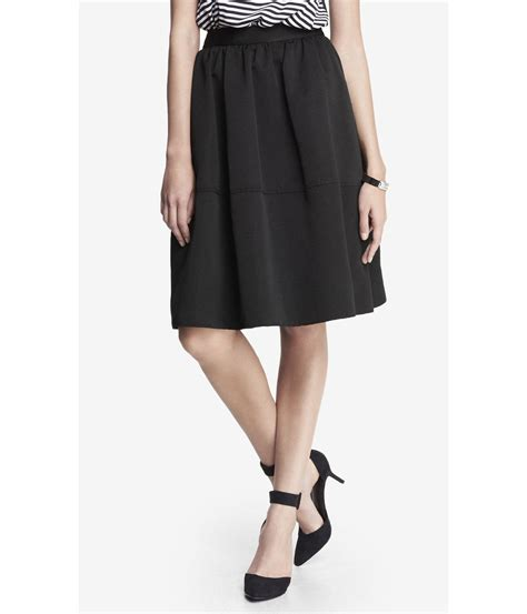 express high waist midi skirt in black pitch black