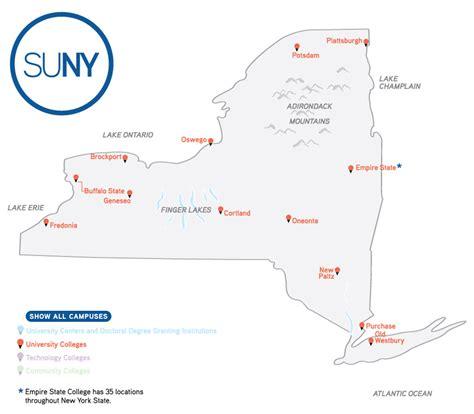 list of suny schools map of cuses suny