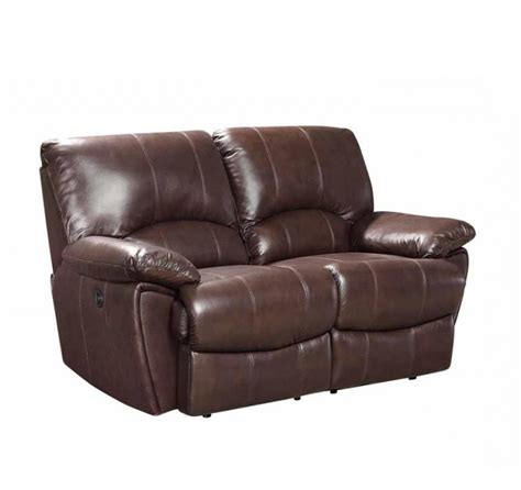 Clifford Dual Power Reclining Brown Top Grain Leather Loveseat Best Leather Recliner Sofa