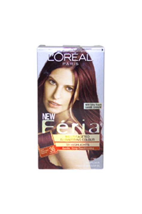 X Pert Hair Colour Spray Glitter Burgundy feria multi faceted shimmering color 3x highlights 36 burgundy brown warmer by loreal