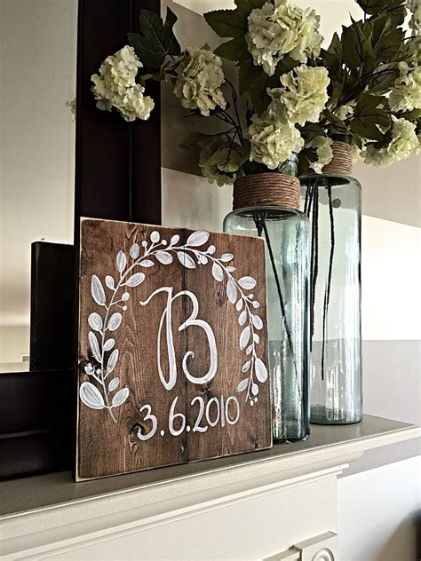 rustic home decor monogram wedding decor wood wedding
