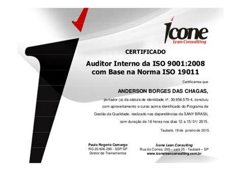 auditor interno iso 9001 certificados auditor interno iso 9001 sany