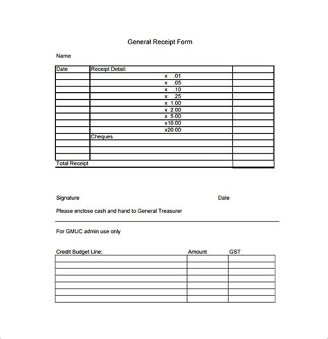 sample general receipt templates  google docs ms word pages