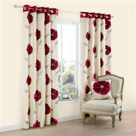 poppy curtains lilium poppy applique eyelet lined curtains w 228 cm l 228 cm departments diy