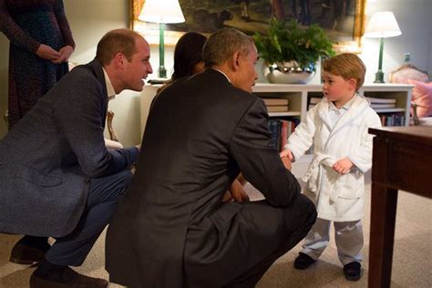 kensington palace twitter prince george meets barack obama in a monogrammed robe