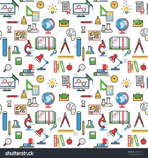 svg pattern object education objects pattern seamless background vector stock