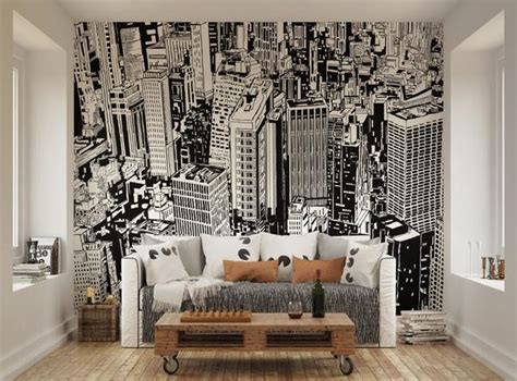 cityscape wall murals ohpopsi black and white cityscape illustration wall