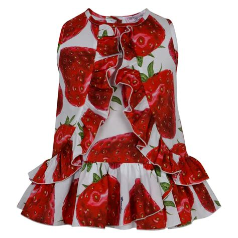 Gj Frill Top A 1453 monnalisa baby sleeveless strawberry print top with ruffle detailing and white