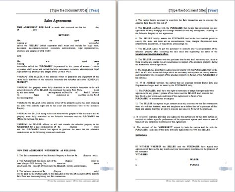 ms word sales agreement template free agreement templates