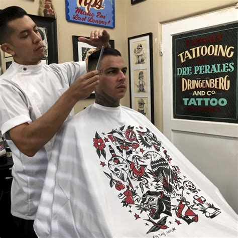 tattoo flash barber cape art by mikey tay