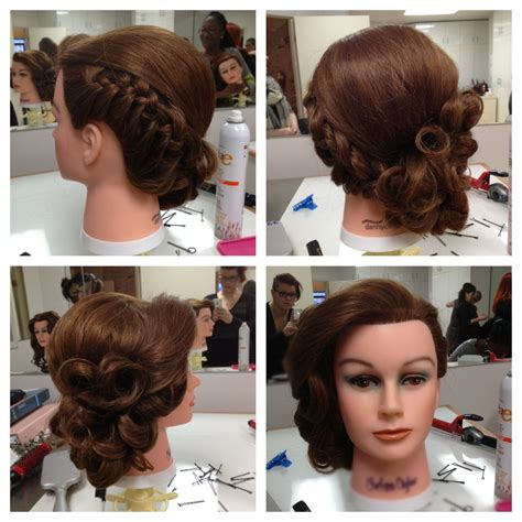 Pin Curls Updo Hairstyles by Low Side Updo Braid To Pin Curl Pin