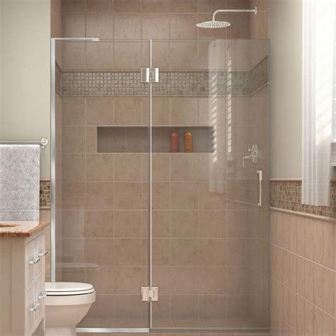 Dreamline Unidoor Shower Door Dreamline Unidoor X 49 In X 72 In Frameless Pivot Shower Door In Chrome D32572l 01 The Home