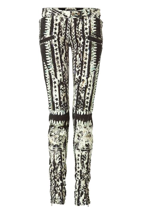 black patterned jeans lyst balmain black and white patterned low rise pants in