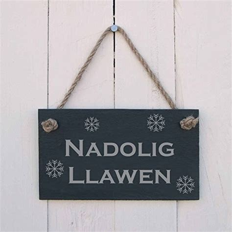 nadolig llawen welsh merry christmas slate hanging sign