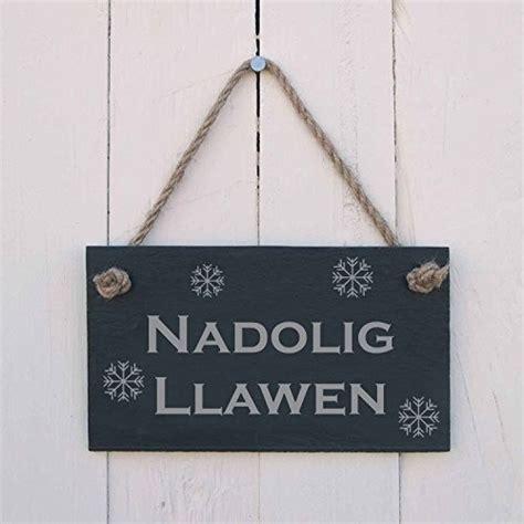 nadolig llawen welsh merry christmas slate hanging sign
