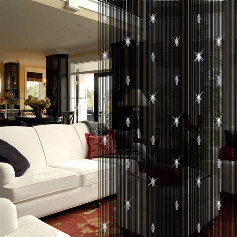 Curtain Room Divider Decorative Luxury Black String Curtain 3 Door Window Panel Room Divider Ebay
