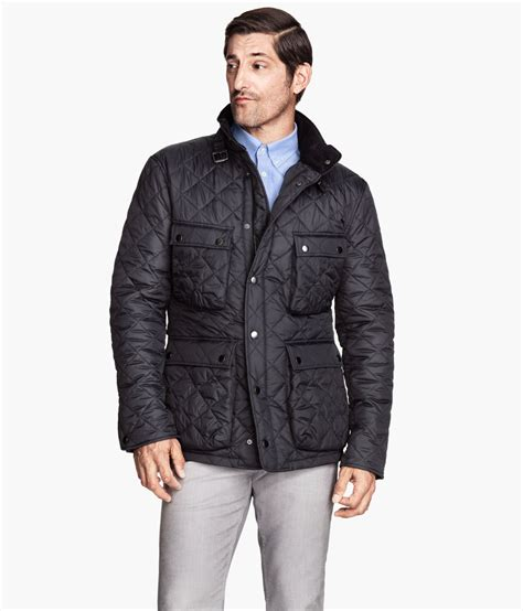 H Jaket h m quilted jacket in gray for grey lyst