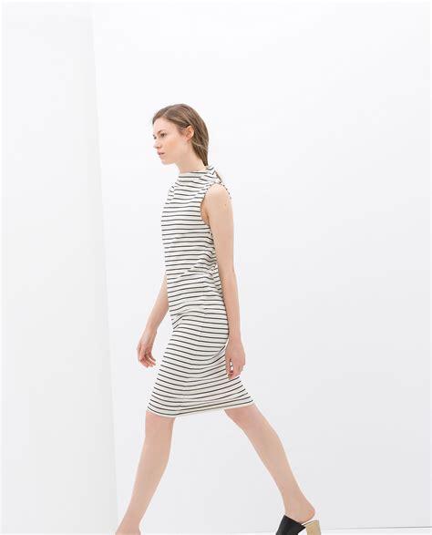 Zara Striped Dress zara striped dress in blue ecru navy lyst