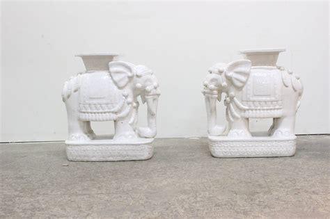 elephant garden stool white white glazed elephant garden stool at 1stdibs