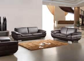 Spacious living room design brown italian modern sofa design brown