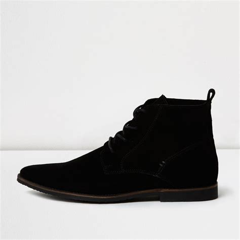 river island black suede pointed desert boots in black for