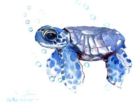 Baby Bath Shower Spray baby blue sea turtle painting by suren nersisyan