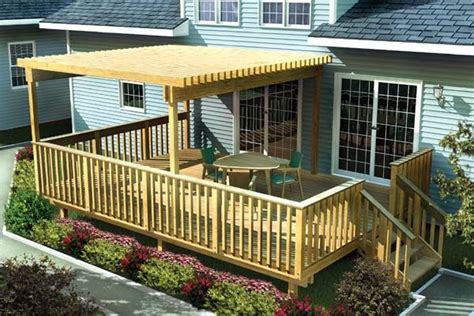 Large Easy Raised Deck W Trellis Project Plan 90003 Patio Plans Free Design