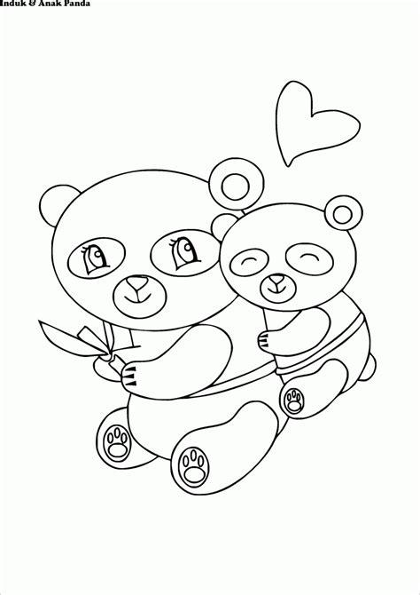 Mewarnai Gambar Induk & Anak Panda, Lucu Loh :) - Contoh