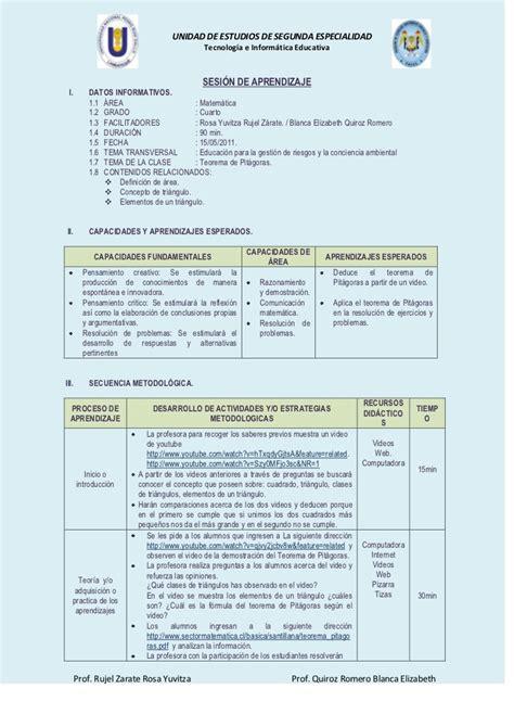 modelo de sesion de aprendizaje para cuarto de primaria 2015 sesi 243 n de aprendizaje con tic