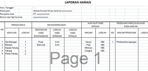 format absensi mingguan contoh format laporan kerja mingguan contoh m