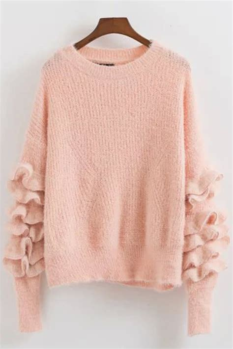 Lace Up Vneck Ruffle Knitted Sweater Series Sweater Knitsweater solid color neck ruffle sleeve knit sweater 024397