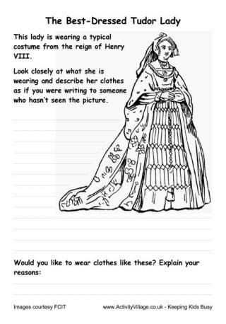 Tudor Fashions Worksheet   Female Costume Comparison