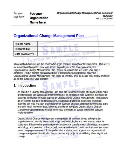 47 Management Plan Exles Pdf Word Pages Organizational Change Management Plan Template