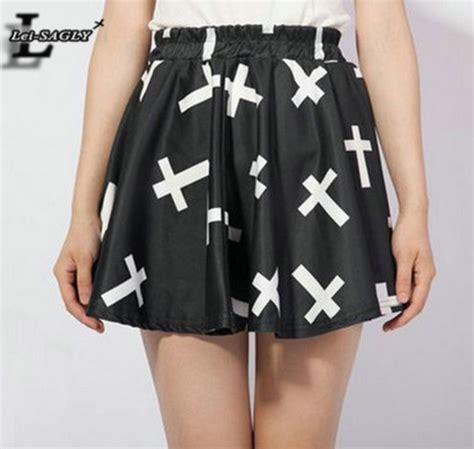 Tas Fashion Xs 023 5 Colour 2016 summer style black fashion pleated cross print skirt harajuku kawaii saia casual