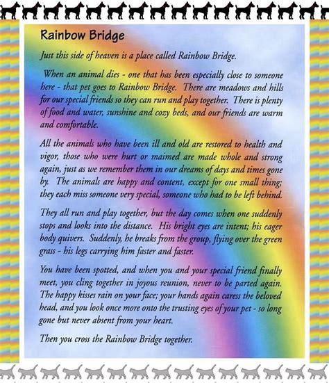 printable version of the rainbow bridge poem original rainbow bridge poem printable book covers