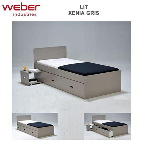 lit tiroir 90x190 lit xenia 90x190 chevet tiroir gris 2280 44 weber