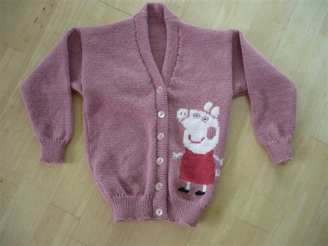 pattern for peppa pig jumper peppa pig cardigan knitted to order age 1 2 3 4 5 6