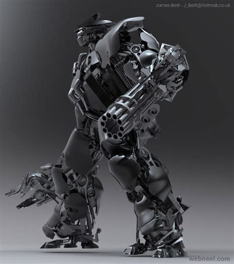 gambar desain karakter robot  depan  photoshop