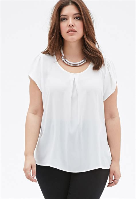 Forever 21 White Blouse forever 21 plus size sheer pleated front blouse in white
