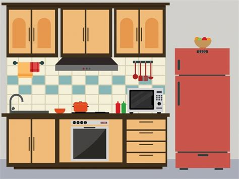 design a kitchen online without downloading flat kitchen with red fridge vector premium download